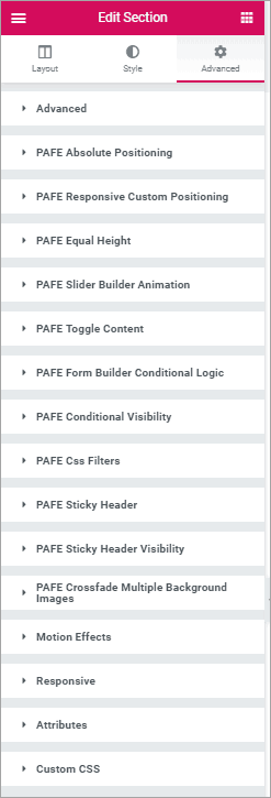 PAFE advanced tab
