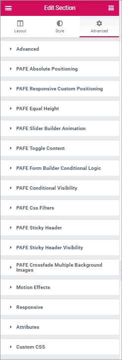 PAFE advanced tab