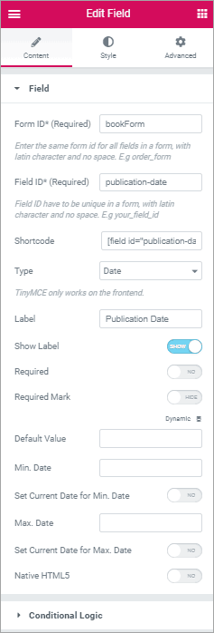 PAFE form field settings
