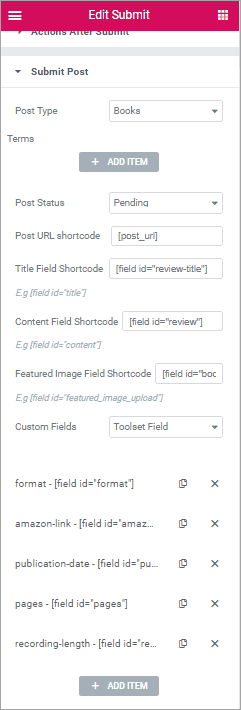 PAFE submit button settings