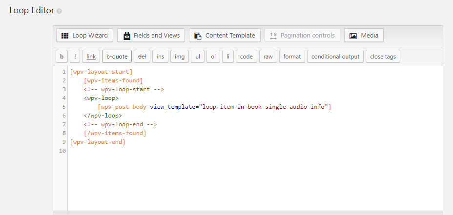 views editor loop editor