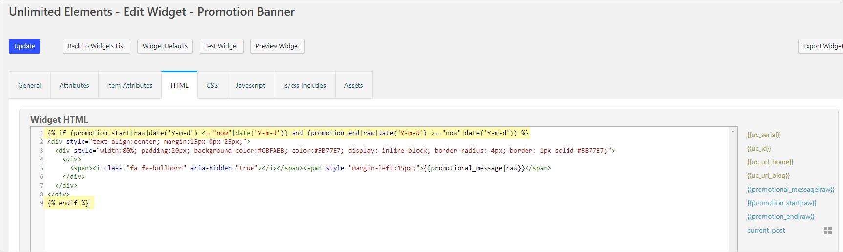 adding the condition in the html tab