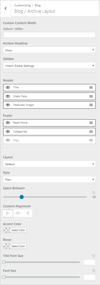 page builder framework archive layout options
