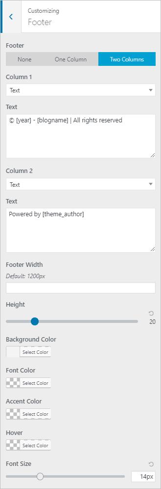 page builder framework footer options