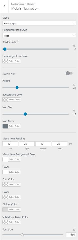 page builder framework mobile menu options