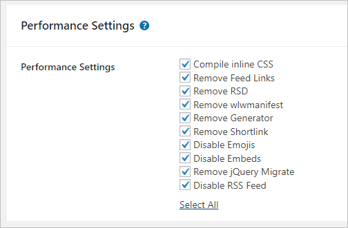page builder framework performance settings
