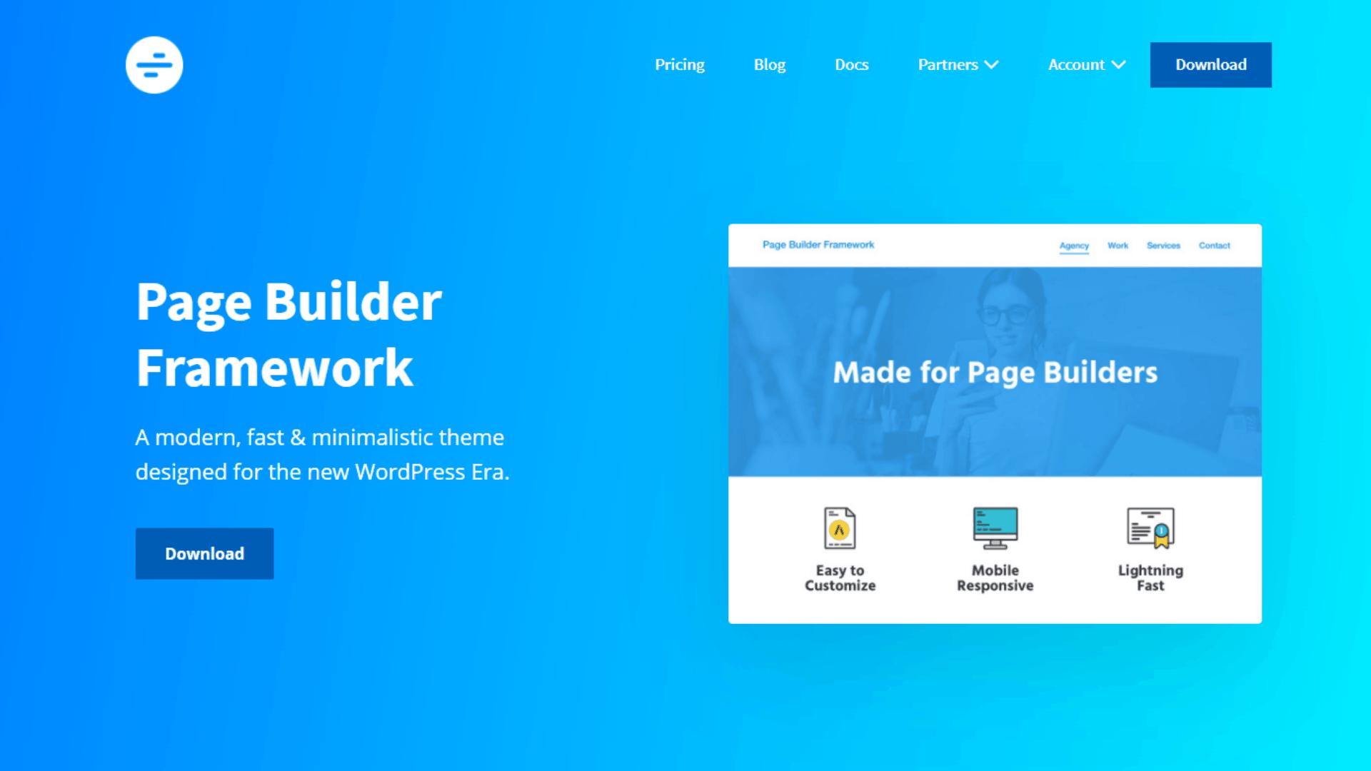 page builder framework home page