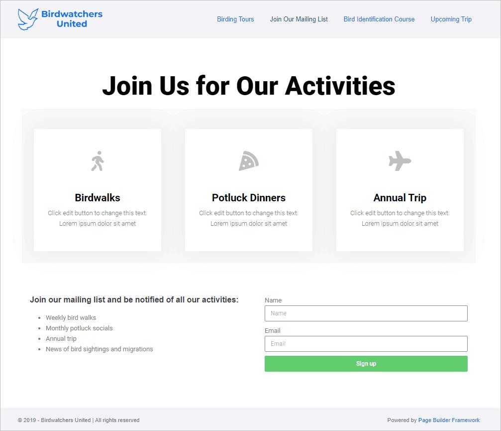 demo site newsletter signup