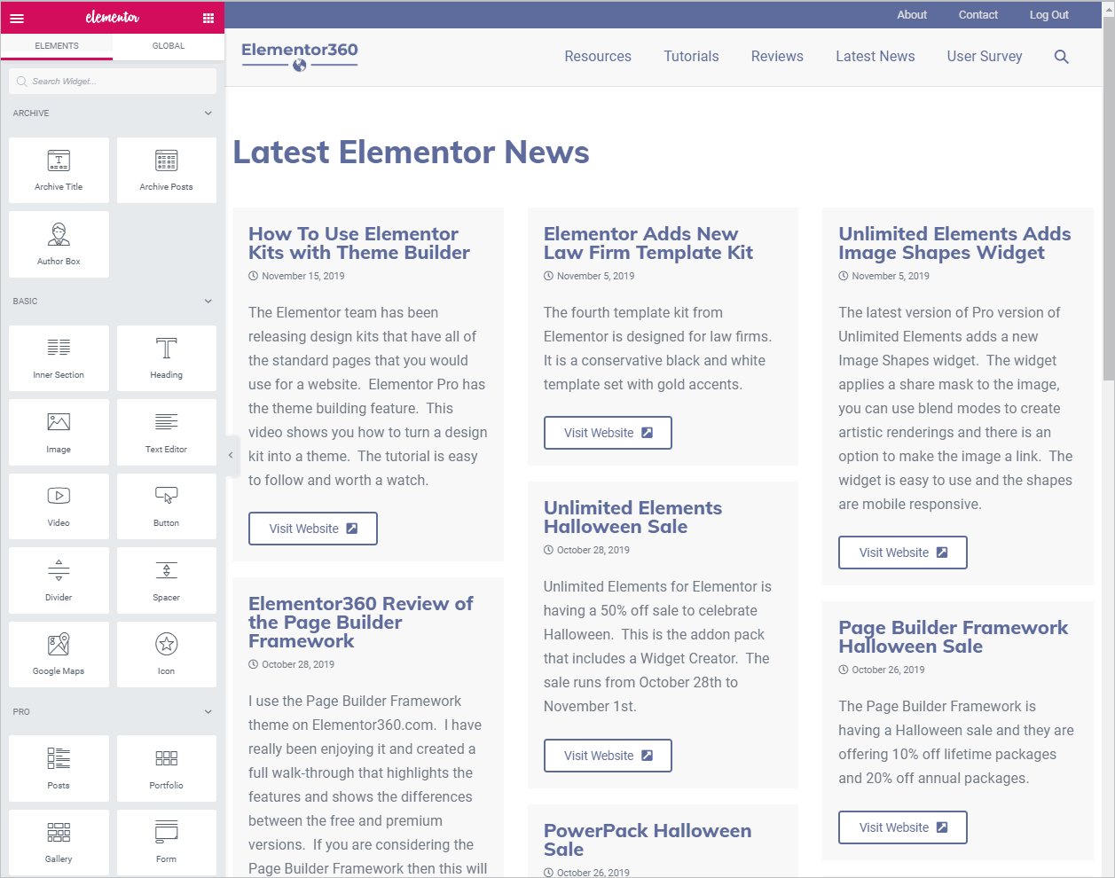 original news archive in the Elementor editor