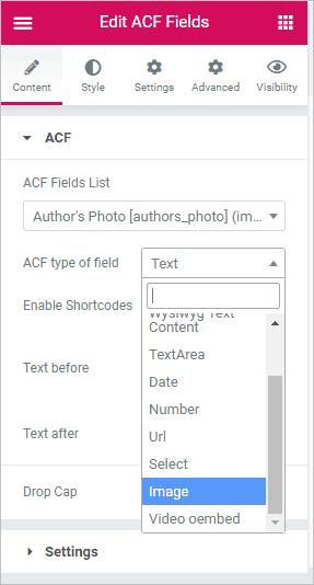 acf field type list