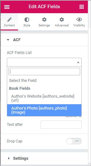 acf field list