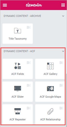 list of dce widgets for acf