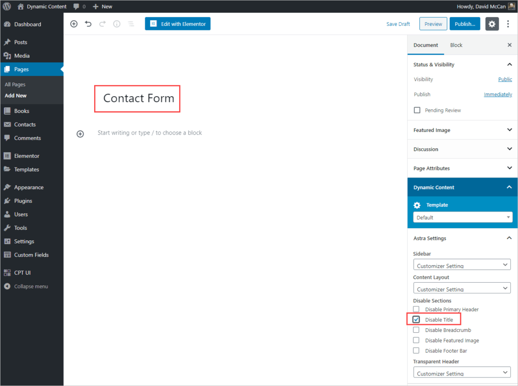 Add New Contact Form Page