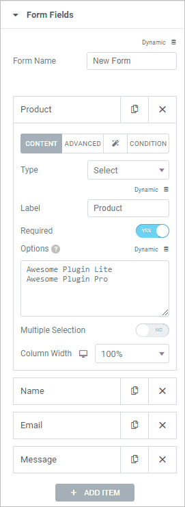 Add Product Form Field