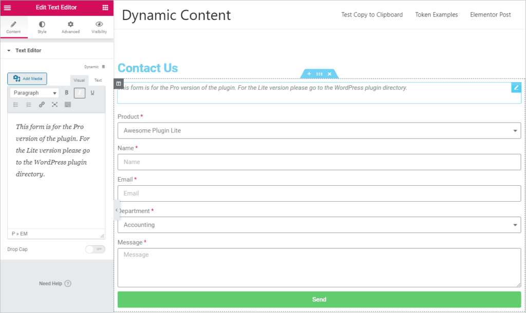 Add Text Message To Form