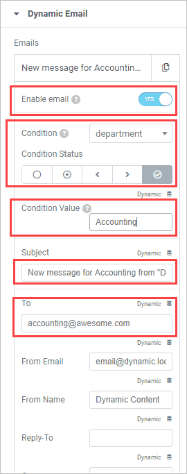 Dynamic Email Set Condition