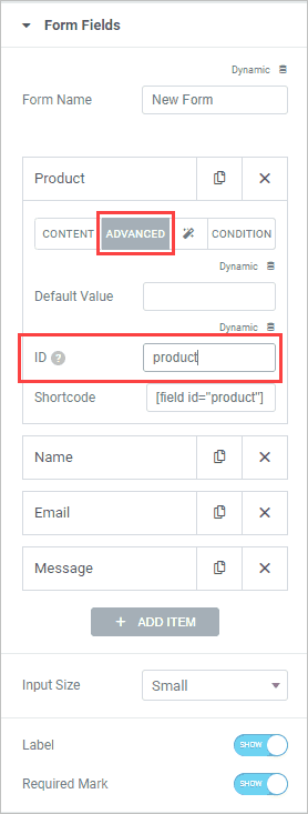 Product Field Advanced Tab