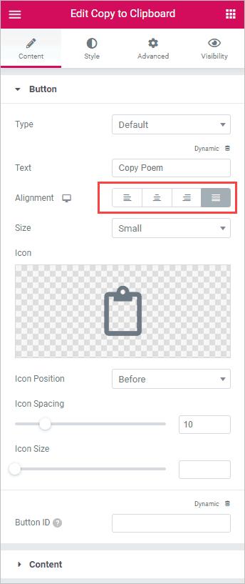 Text Area Content Button