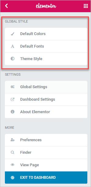 Elementor Global Styles Menus
