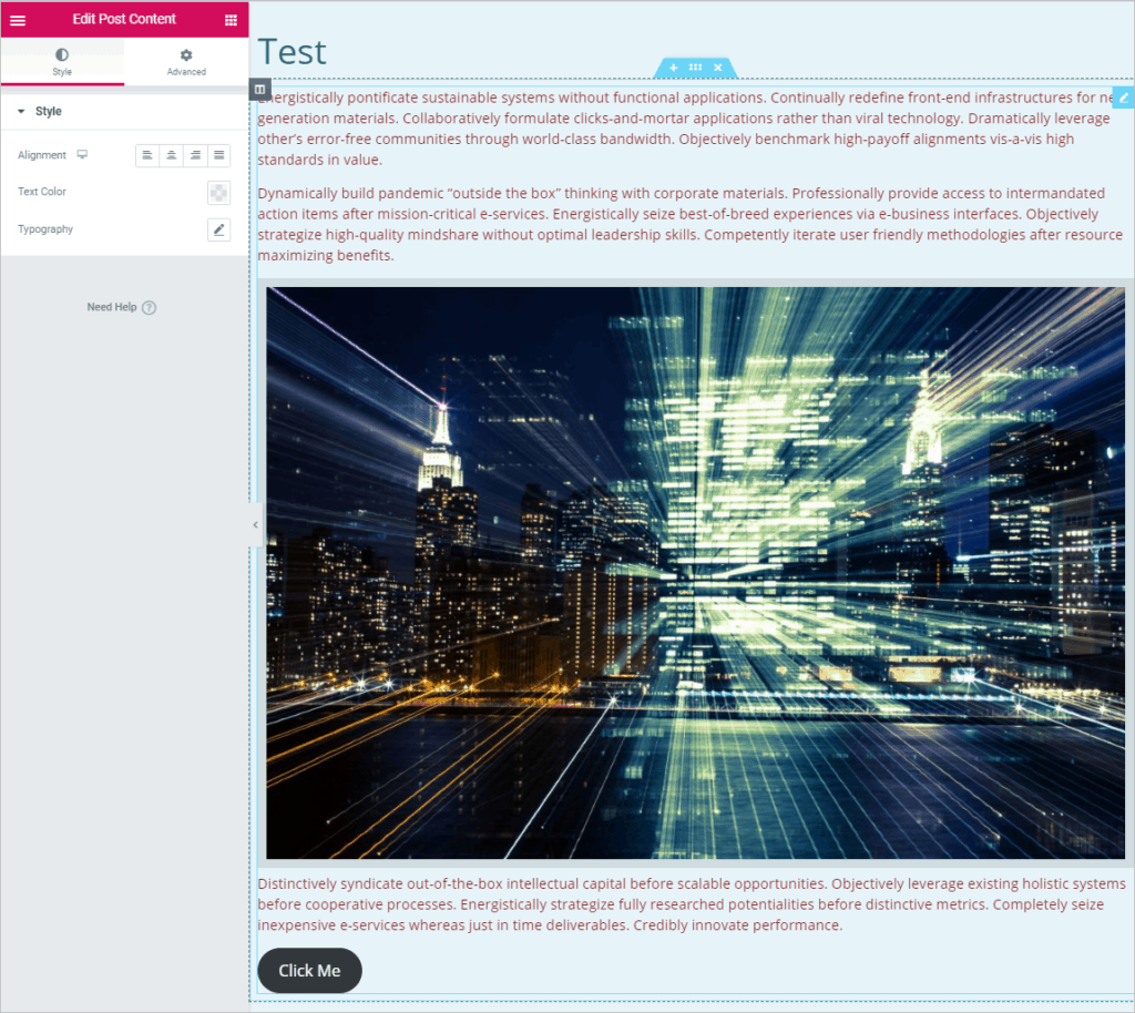 Single Page Template In Editor