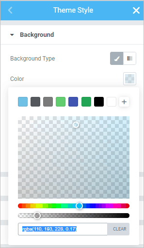 Styles Background Color Set
