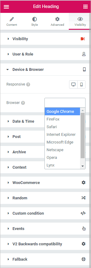 Dce Browser Conditions
