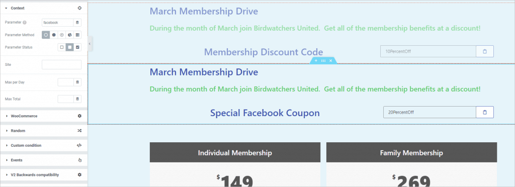Dce Second Section With Facebook Coupon