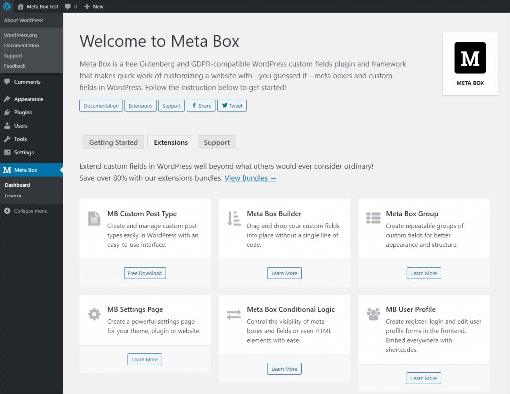 Meta Box Admin Dashboard