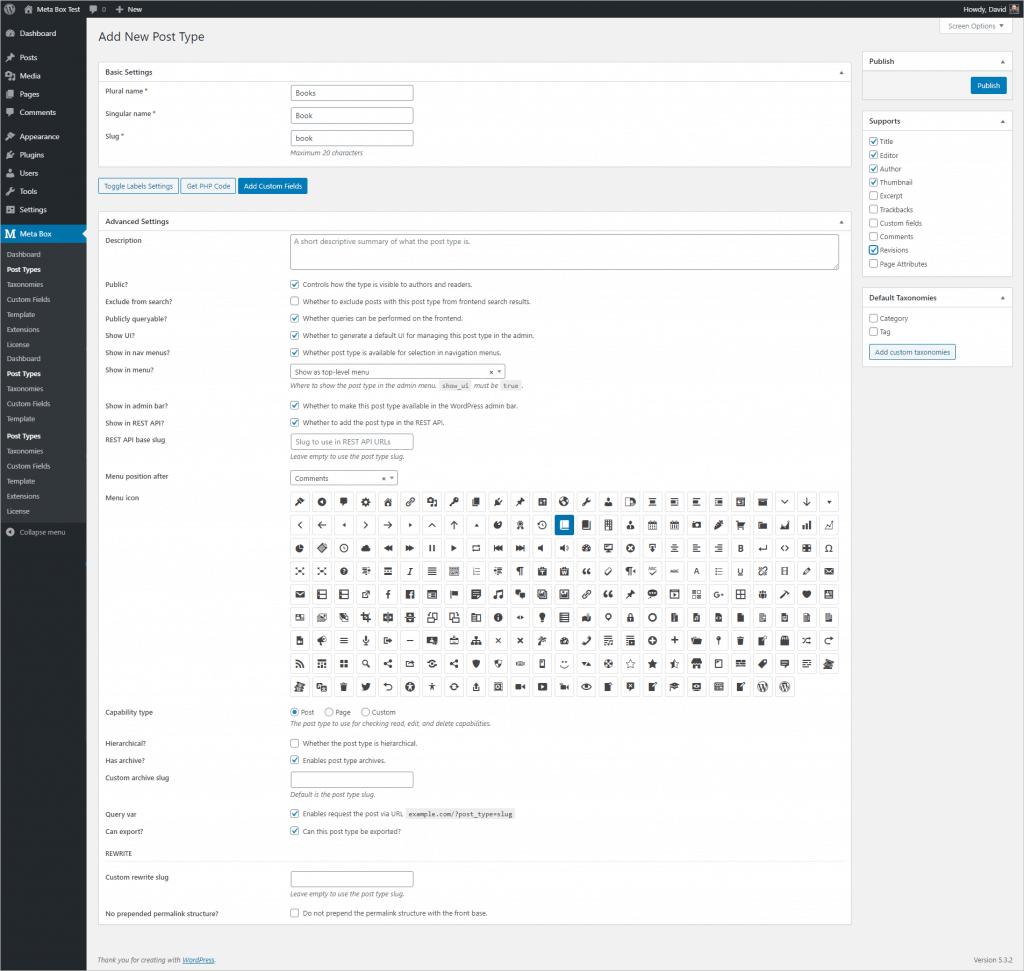 Meta Box Post Type Creation Screen