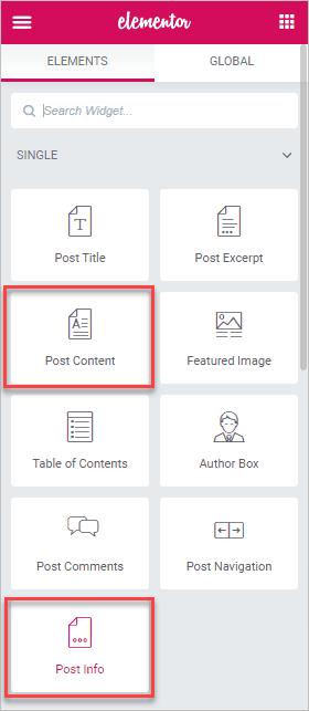 Post Meta And Post Content Widgets