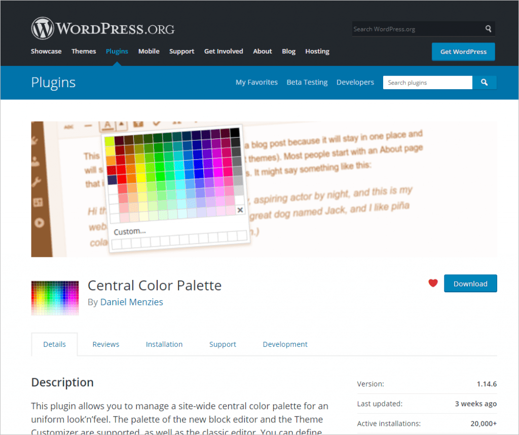 Central Color Palette Plugin From WordPress Org 1