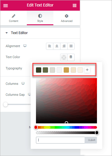 Colors In Elementor Editor