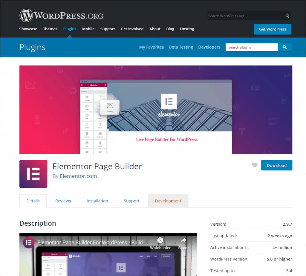 Free Elementor Plugin From WordPress Org