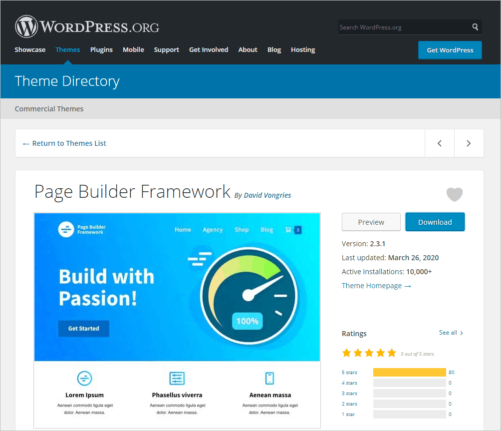 Page Builder Frame Theme On WordPress Org