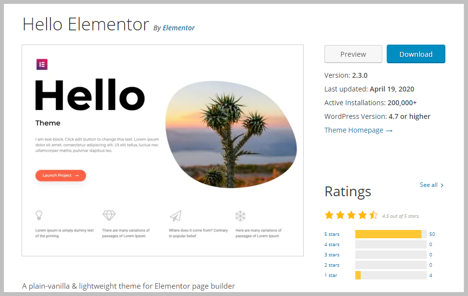 Hello Elementor Theme On WordPress Org