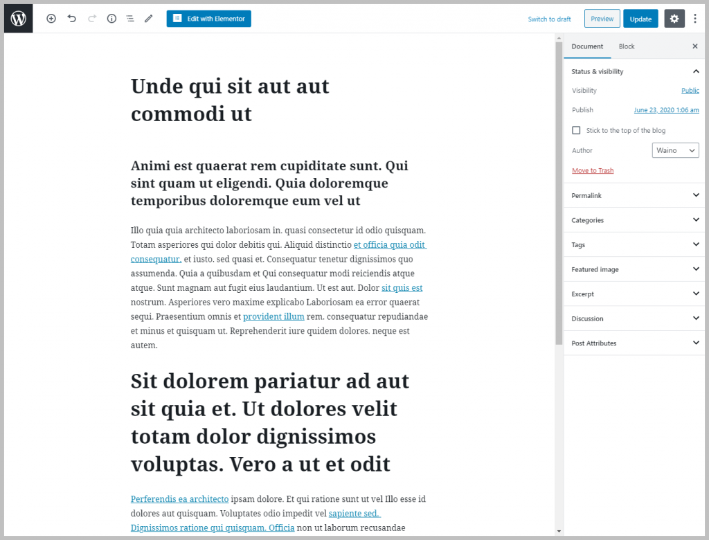 Post In Gutenberg Editor