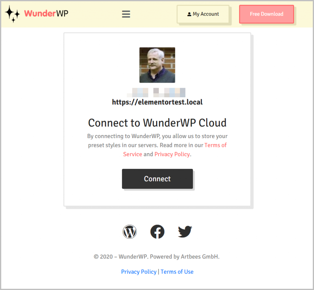 Wunderwp Dialog To Connect Your Site