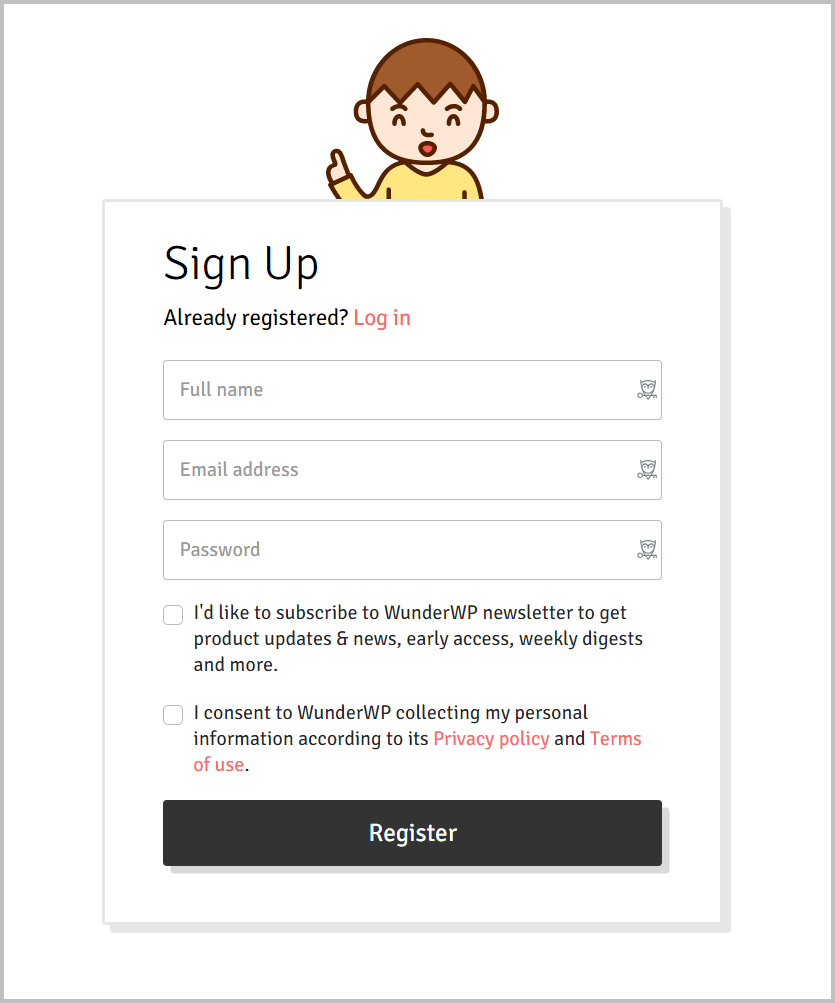 Wunderwp Signup Form