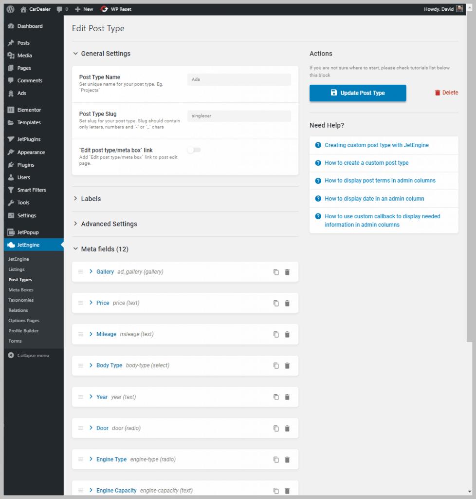 Ads Custom Post Type