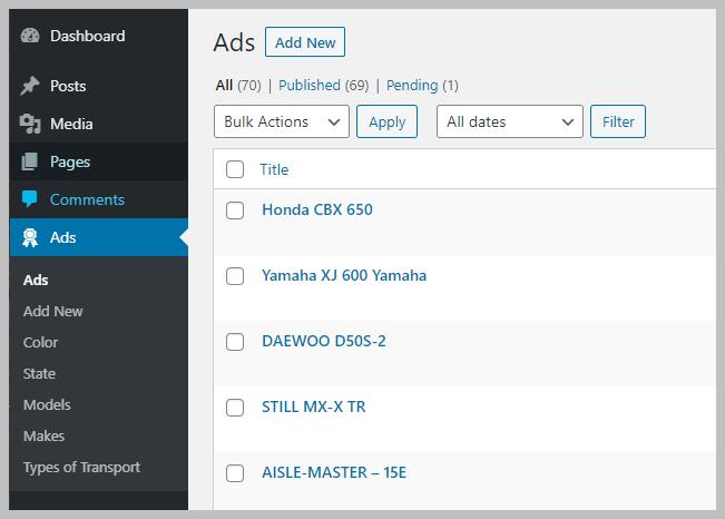 Ads Custom Taxonomies