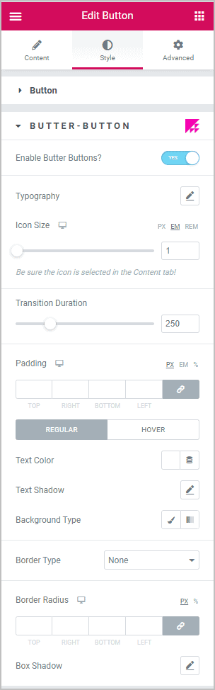 Butter Button Style Options