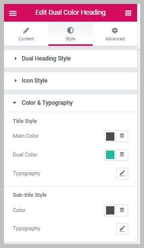 Ea Dual Color Heading Color Settings