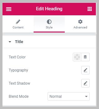 Elementor Heading Style Options