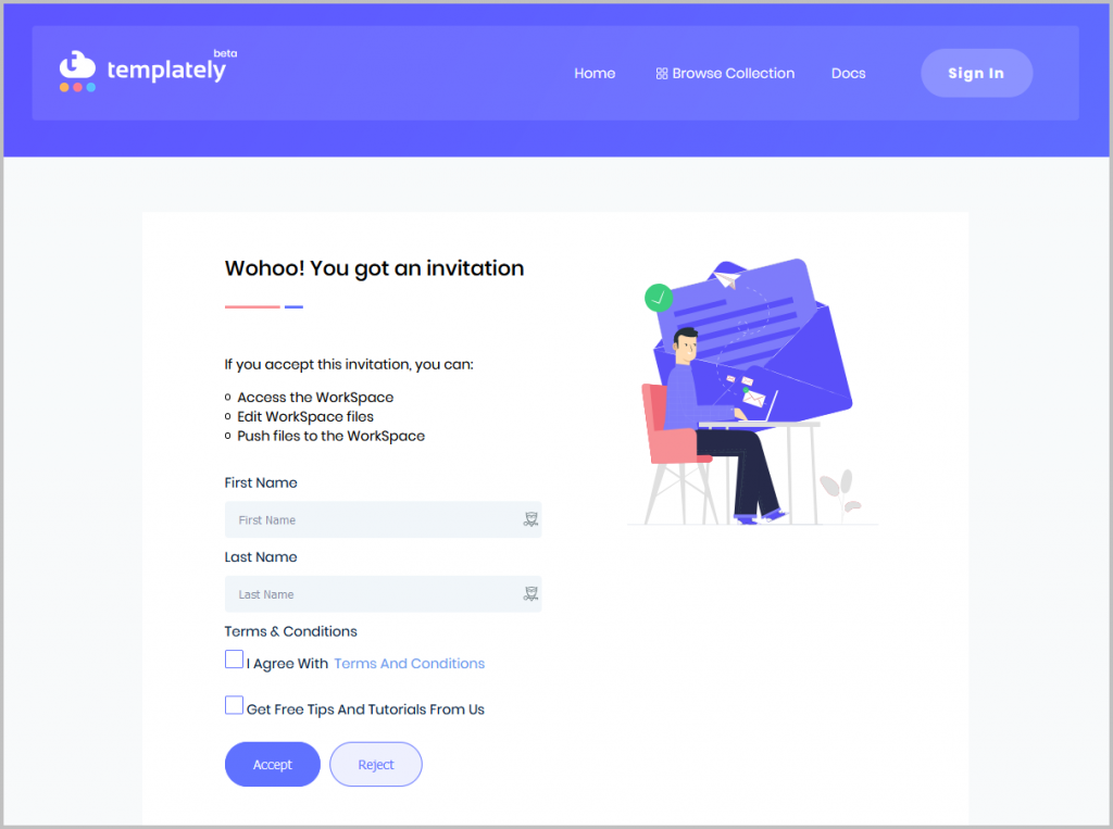 Templately Invitation Signup Screen