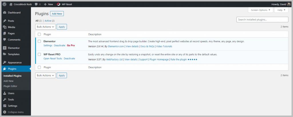 Test Site Starting Plugins Installed