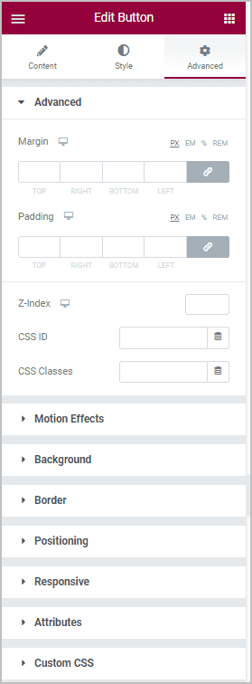 Button Advanced Panel