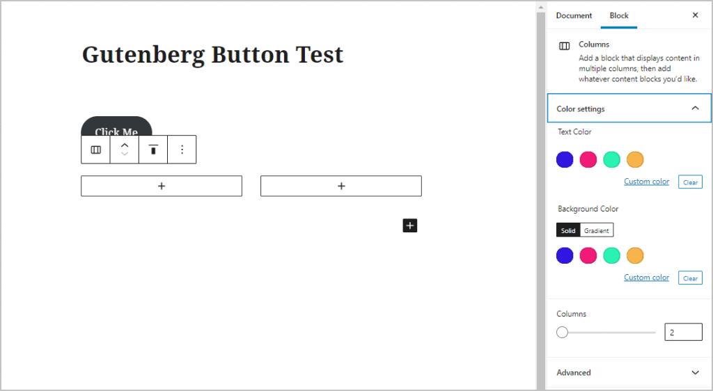 Gutenberg Column Options