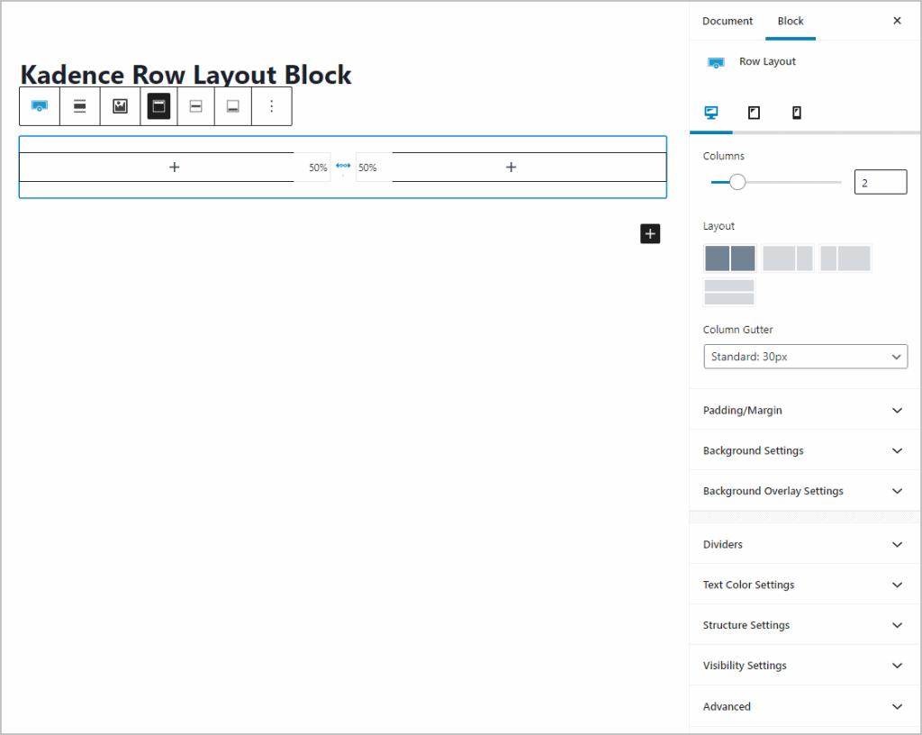 Kadence Row Layout Block Page