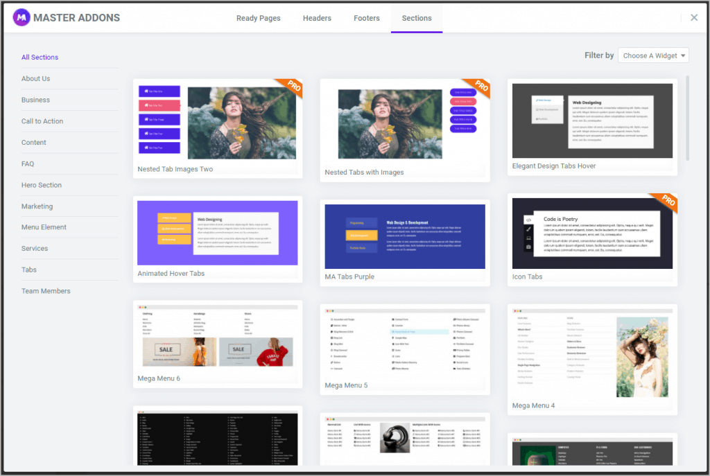 Master Addons Predesigned Templates