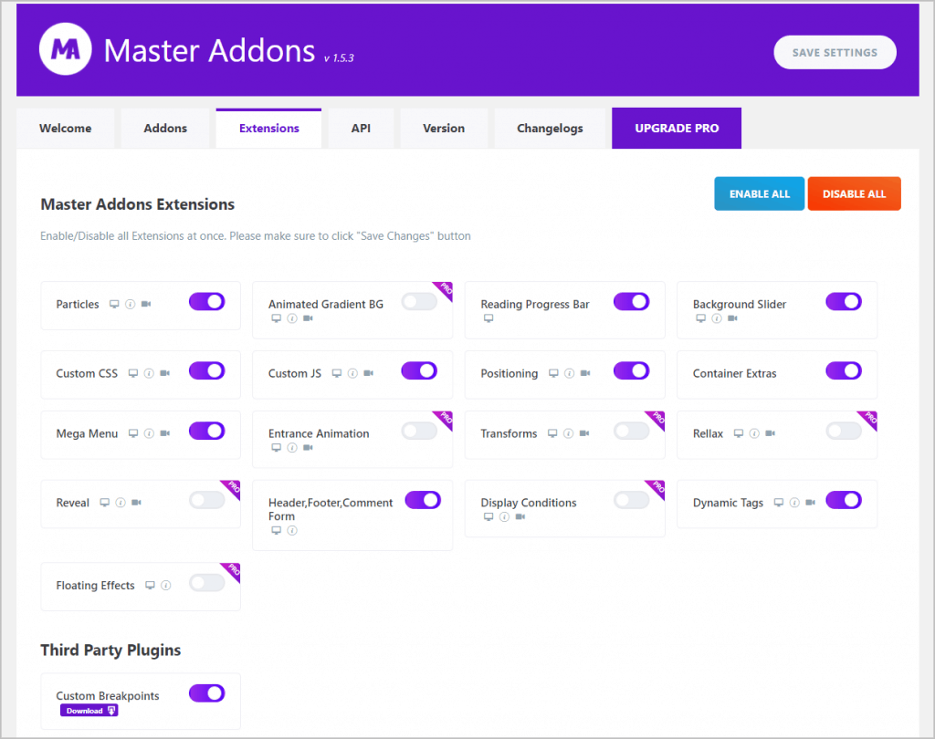 Master Addons Settings Extensions